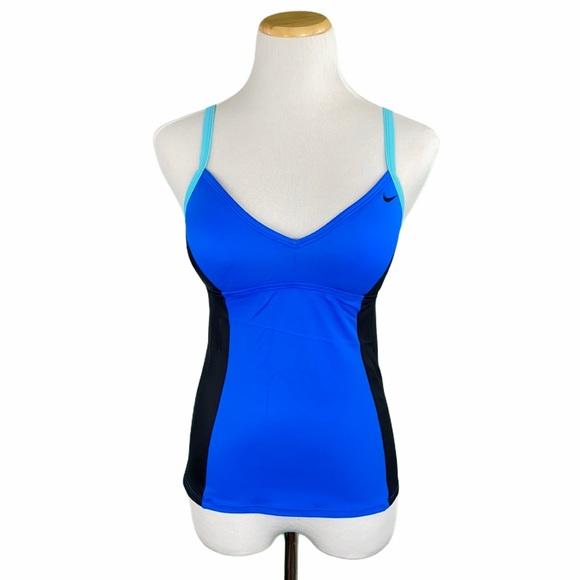 Nike Black/Blue Racerback Padded Swim Tank Top